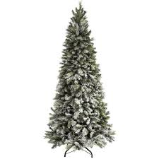 Fiber Optic Christmas Trees Canada by Pre Lit Slim Snow Flocked Spruce Multi Function Christmas Tree