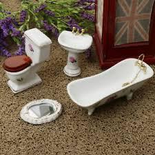 details zu 1 12 puppenhausmöbel porzellan badezimmer set blumentoilette badewanne 5