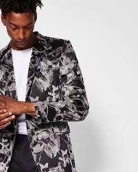pashion floral jacquard velvet jacket black suits ted baker