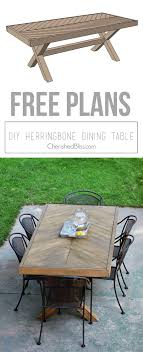Build This DIY Outdoor Table Featuring A Herringbone Top And X Brace Legs Would Also Rustic Dining