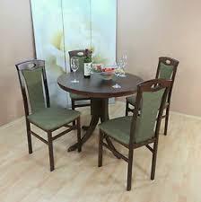 details zu essgruppe 5 tlg auszugtisch rund stühle esstisch tisch farbe nuss dunkel olive