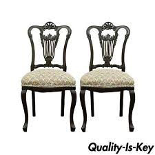 Lyre Back Chairs History by Dark Wood Tone Mahogany Victorian Antique Chairs Ebay