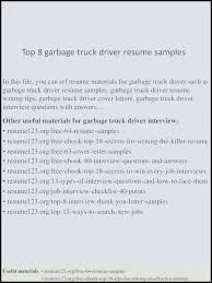 Truck Driver Cover Letter Resume Sample For Garbage