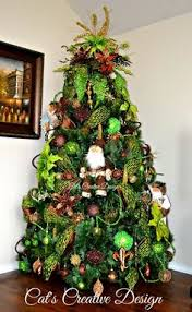 Christmas Tree In Chocolate Brown Lime Green And Touches Of Gold Without Lights On