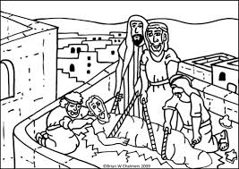 Coloring Page Of Hole In Roof Jesus Heals The Paralyzed Man