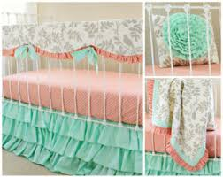 Teal And Coral Baby Bedding by Mint Crib Bedding Etsy