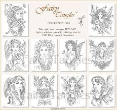 Fairy Tangles Printable Coloring Book Bulk Collection Two