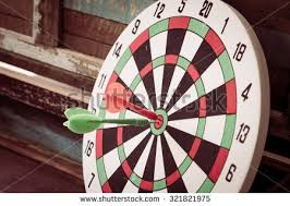 Arrows Hit The Center Target On Dart Board Vintage Effect Style