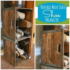 Vintage Milk Crate Used As SHOE Organizer From Dana Crafted Niche Organizing