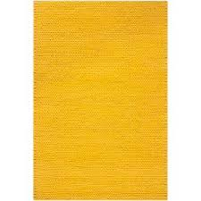 Hand Woven Yellow Vinci New Zealand Wool Soft Braided Texture Rug 8 X 10