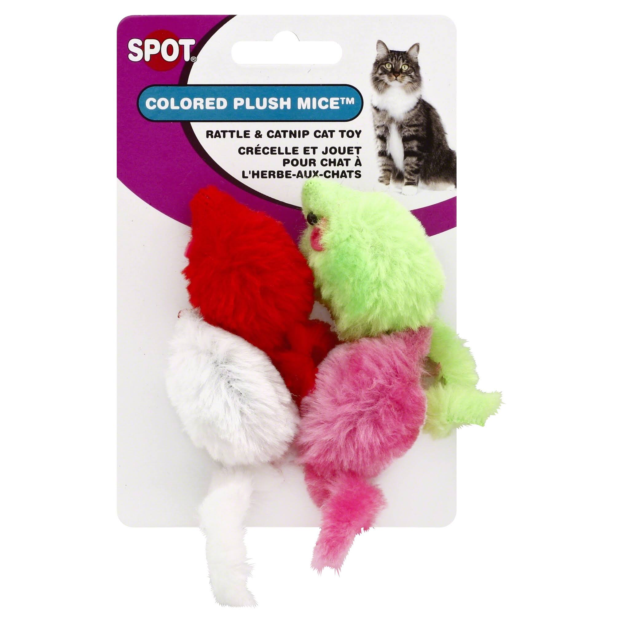 Ethical Colored Plush Mice with Catnip Cat Toy - 4pk