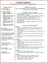 Resume Career Summary Example Statement Examples Change