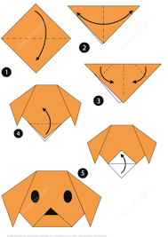 Click To See Printable Version Of Origami Step By Instructions A Dog Face Paper
