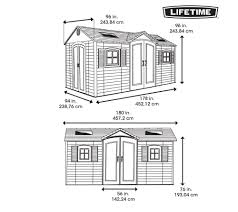 Suncast 7 X 7 Alpine Shed by Amazon Com Lifetime 15x8 Dual Entry Shed Storage Sheds Patio