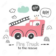 100 Pink Fire Truck Toy Hand Drawn Illustration In Scandinavian Style Isolated