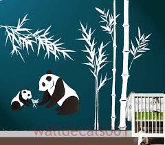 Tree Wall Decor Baby Nursery by Kids Wall Decal Panda Decal Baby Nursery Decal Bamboo Decal