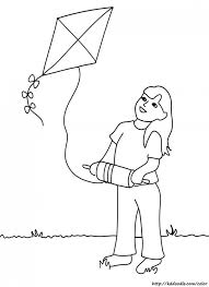 Flying Kite Coloring Page Clipart