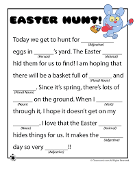 Halloween Mad Libs Esl by Easter Mad Libs Easter Mad Libs Easter Hunt U2013 Classroom Jr