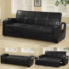 faux soft leather sofa bed sleeper lounger with storage cup