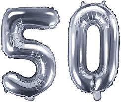 folien ballon zahl 50 in silber geburtstags ballon zum 50 geburtstag jahres zahl alter deko dekoration