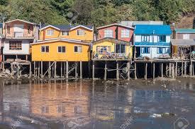 100 Houses In Chile Palafitos Stilt Castro Chiloe Island Stock Photo