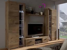 mirjan24 wohnwand farso xl modernes wohnzimmer set schrankwand stilvoll mediawand tv möbel mit weißer beleuchtung lefkas eiche