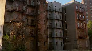 MS CANTED Run Down Apartment Buildings Harlem New York City