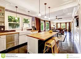 ile cuisine cuisine avec l île en bois de plan de travail photo stock image du
