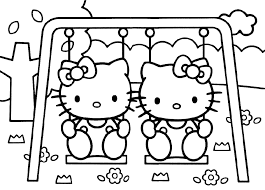 Free Printable Hello Kitty In A Swing
