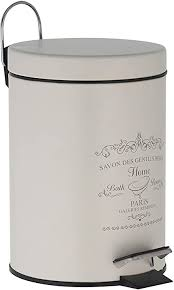 treteimer 3 liter in altweiß mülleimer als abfalleimer kosmetikeimer für badezimmer küche aus metall mit frontdruck mülleimer mit deckel
