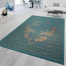 details zu kurzflor teppich modern wohnzimmer bordüre orient stil klassisch türkis beige