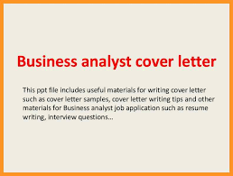 business analyst cover letter sample