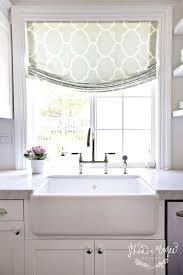 Dotted Swiss Kitchen Curtains by Another Faux Roman Idea Short Window Treatments Would Also Be Von