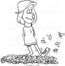 Vector of a Cartoon Woman Walking in Leaves Outlined Coloring Page