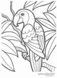 Tropical Parrot Coloring Page