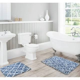 Lush Diamond Jacquard Bath Mat Set (Blue), RT Designer Collection