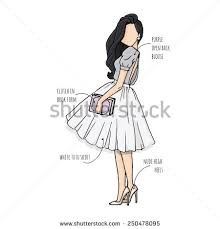 Fashion Sketch Drawing Girls In Beautiful Looks Hand Drawn Illustration With Colored Girl