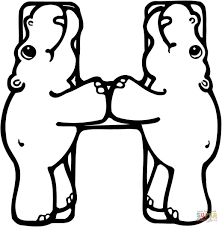 Click The Letter H Is For Hippo Or Hippopotamus Coloring Pages