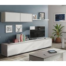 wohnzimmer fernsehschrank mit vier flügeltüren mit einem hängeschrank mit zwei flügeltüren und einem regal farbe beton und arktik weiß 200 x 43 x