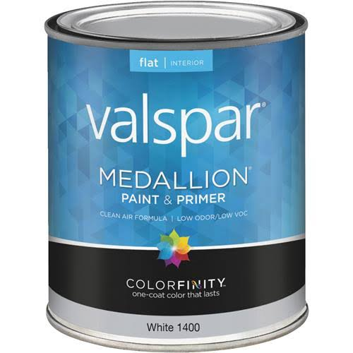 Valspar 773775 Flat Wall Latex Paint - 1400 White, 1qt