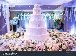 A beautiful wedding cake with decoration at wedding reception room for wedding party Beautiful Cakes