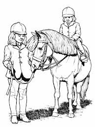 Little Girl Riding Horse Animal Coloring Pages