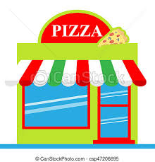 Pizza Shop Means Pizzeria Restaurant 3d Illustration