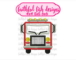 100 Fire Truck Applique Cute Engine Fighter Etsy