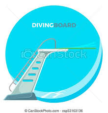 Diving Board Or Springboard Used For Snorkeling Linear Flex Spring Of The Cantilever Type Vector Illustration Logo Design Isolated On White Background