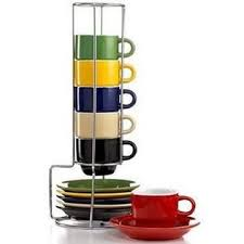 Gibson Espresso Cups Set Coffee Cup With Metal Rack Stackable Mug Turkish Assorted Colors 13 Pcs A