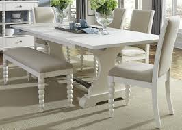 5 Piece Dining Room Set With Bench by Trestle Table And 4 Upholstered Side Chairs And Dining Bench Set