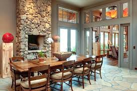 Dining Room With Fireplace In Image By Moon Bros Inc