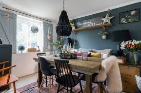 Eclectic Dining Room With Pendant Light And Black Chairs