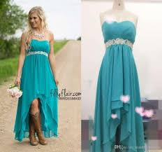 Modest Teal Turquoise Bridesmaid Dresses 2016 Cheap High Low Country